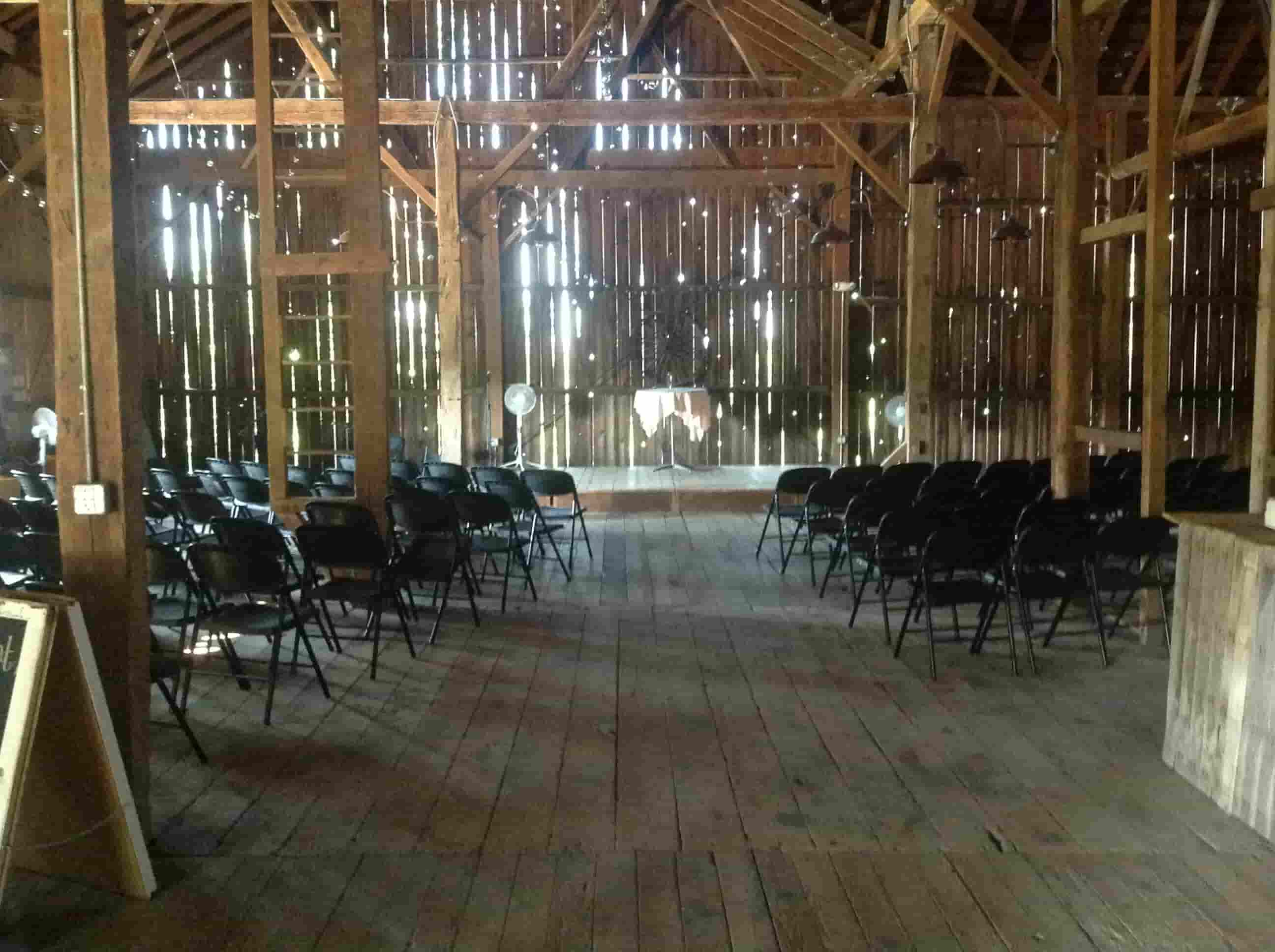 The barn setup for a wedding
